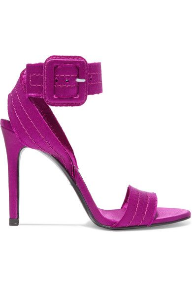 Pedro Garcia - Catalina Frayed Satin Sandals - Plum - IT39.5
