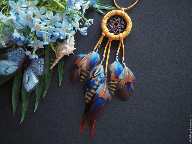 Оазис в пустыне - рыжий кулон ловец снов с перьями в стиле бохо - перья, перо