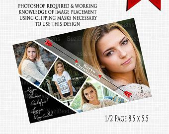Senior Yearbook Ad Template Half Page Must Have Photo Purchase Add Your Own Images Junior High Elementary Or Preschool