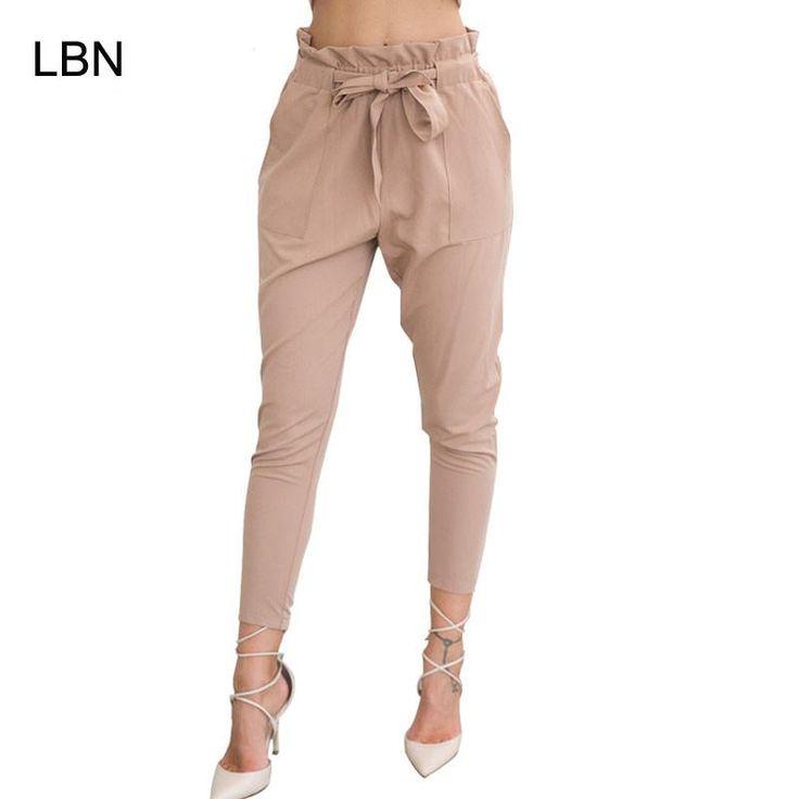 High Elastic Waist Harem Pants Women