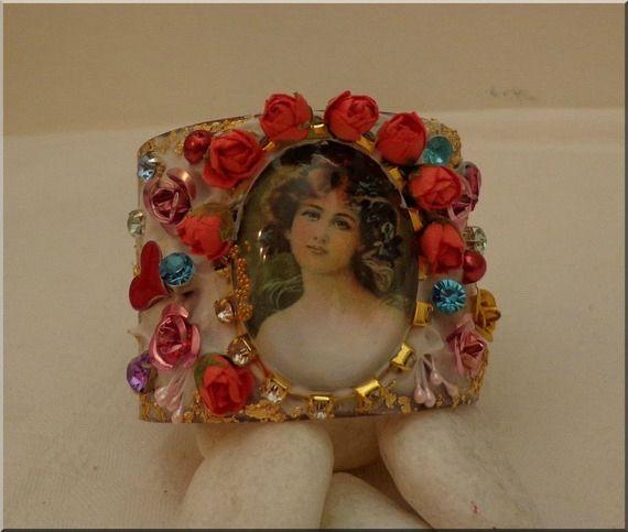 Bracelet cabochon Baroque en laiton, coeur céramique, cristaux, perles Renaissance, Feuille d'or : Bijoux Chic