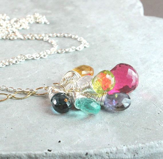 Gemstone Cluster  Necklace   Oxidized Silver  Multi Gemstone