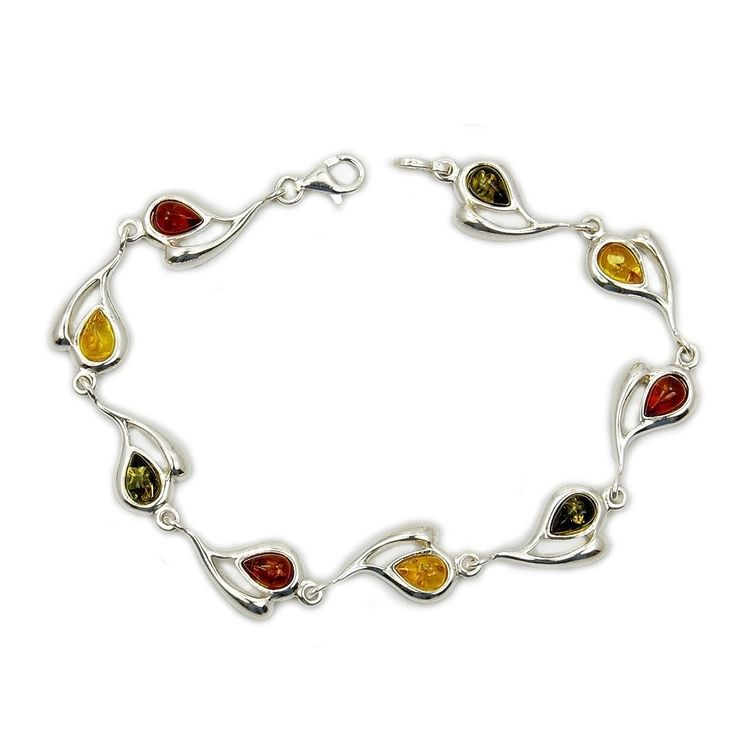 """Desire of My Heart' Sterling Silver Natural Multicolor, Green, Honey Baltic Amber Heart Bracelet, 7.5"""". Hearts, Natural Honey, Green Baltic Amber; Length: 7.5"""". 925 Sterling Silver; Weight: 9 grams. Genuine Stones. Each item comes shipped in a jewelry box. Each item is designed and handcrafted by our artisans."""