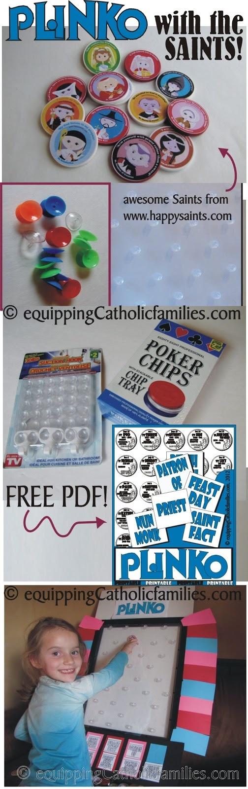 Equipping Catholic Families: PLINKO with the SAINTS with FREE Saints Plinko PRINTABLE