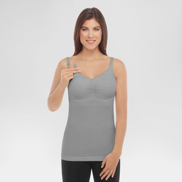 Medela Women's Slimming Nursing Cami with Removable Pads - Light Heather Grey XL, Light Grey