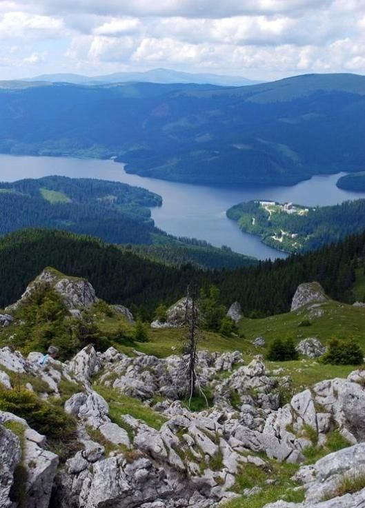 Vidra lake and monastery, Transalpina mountain road, Romania,