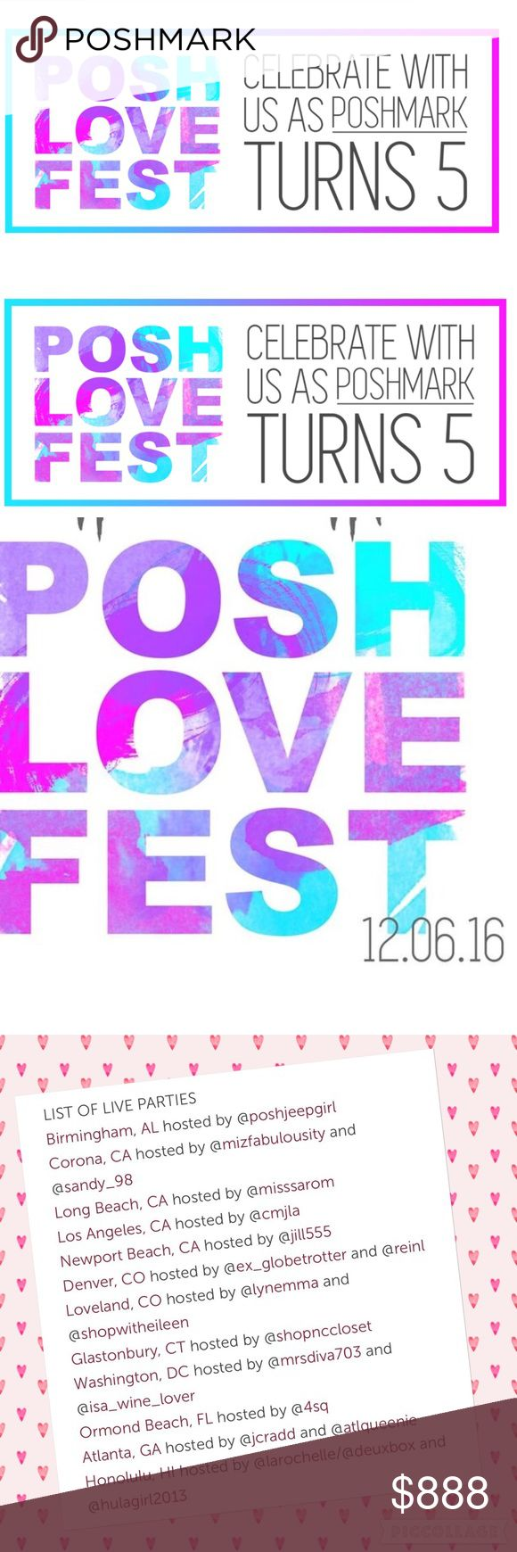 POSH LOVE FEST 2016 yay! Poshmark turns 5 and we have tons of parties happening simultaneously on DEC 6!!!   check Out the party in your area and contact the cohost to join the fun! Celine Bags