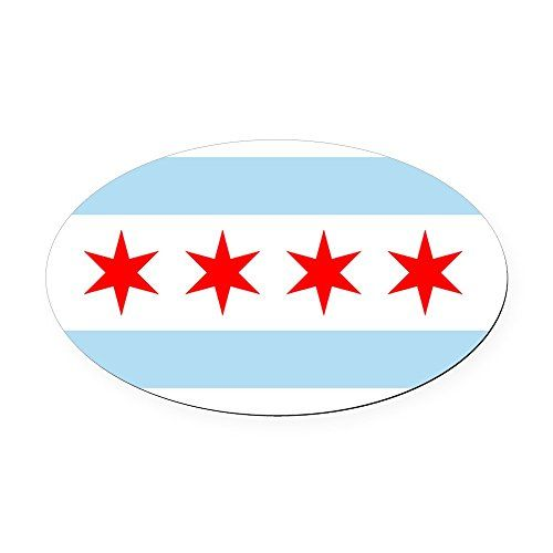 CafePress  Flag of Chicago Oval Car Magnet  Oval Car Magnet Euro Oval Magnetic Bumper Sticker -- Click on the image for additional details.Note:It is affiliate link to Amazon.