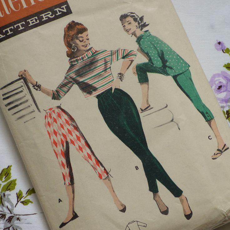 1950s Sewing Pattern - Audrey Hepburn Tapered Slacks Pants Pedal Pushers Boxy Blouse - 34 Bust Small Medium S M. £16.00, via Etsy.