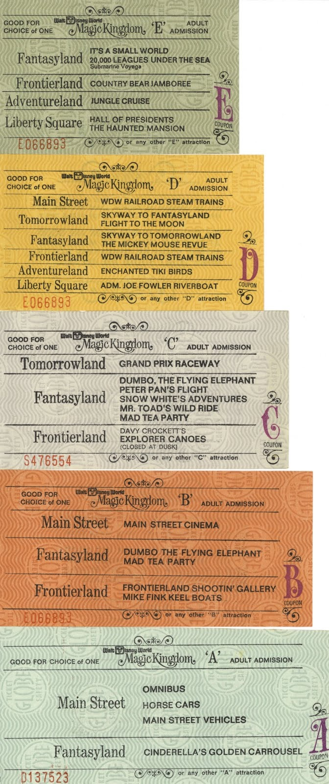 photos of Disneyland - ride tickets 1972....I so remember those...always ran out of good ride tickets