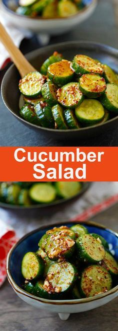 Asian Cucumber Salad – healthy cucumber salad with Asian spices. So refreshing and easy. A perfect appetizer for any meals | rasamalaysia.com