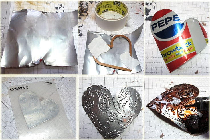 Frilly and Funkie: Saturday StepXStep  Cutting and embossing soda can
