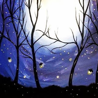 You would not believe your eyes of ten million fireflies lit up the world as I fell asleep, because they'f fill the open air and leave teardrops everywhere 🌌 (and oldie but still such a pretty song) #owlcity #fireflies #moonlight #easypainting #acrylicpainting
