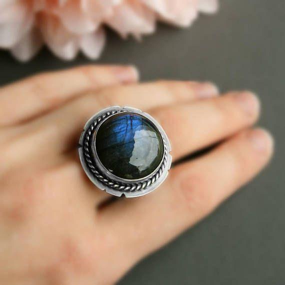 Large Statement Labradorite Ring/Ring with Stone/Labradorite