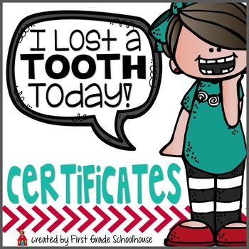 "FREE ""I Lost a Tooth Today!"" Certificates is an assortment of certificates for your students who lose a tooth during the school year.   Use the certificates on those occasions when someone in your classroom loses a tooth. Print them on colored copy paper. It's a positive and fun way to acknowledge students with something special."