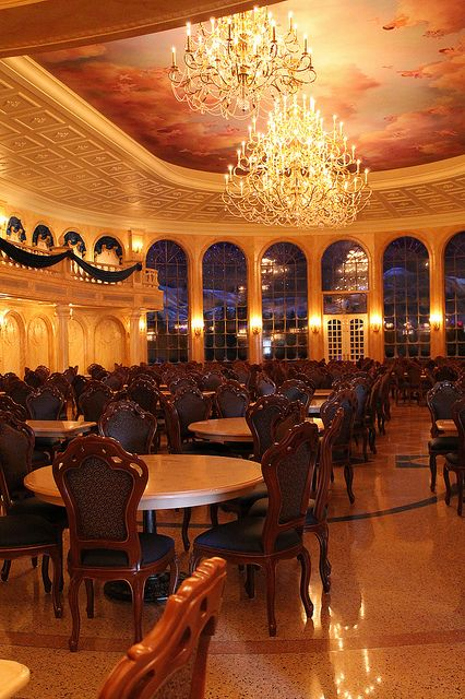 Inside Be Our Guest Restaurant. Gorgeous restaurant!  Food was good, but not our style really.  We will be back, but not very often.