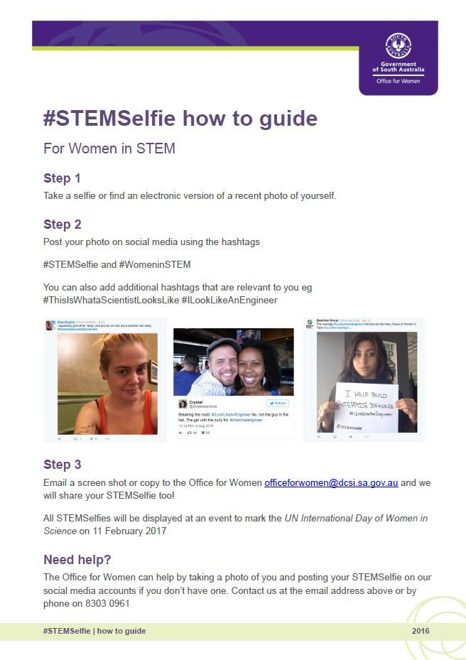 STEM selfies highlight women working in STEM and challenge the stereotype of  what a scientist, engineer and other STEM professionals looks like.