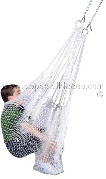 Therapy Net Swing $41.95 fits up to 200 lbs for children or adults, can add bean bag, balls, padding or study board. Can be hung on a rotational swing device, part of a gym or from other safe swing security boards.  #autism #aspergers #design #art #ASD #swing #sensoryfriendly