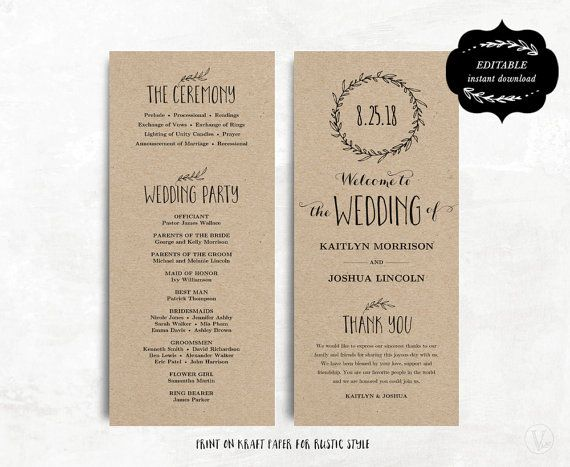 The 25+ best Wedding program templates ideas on Pinterest - programs templates free