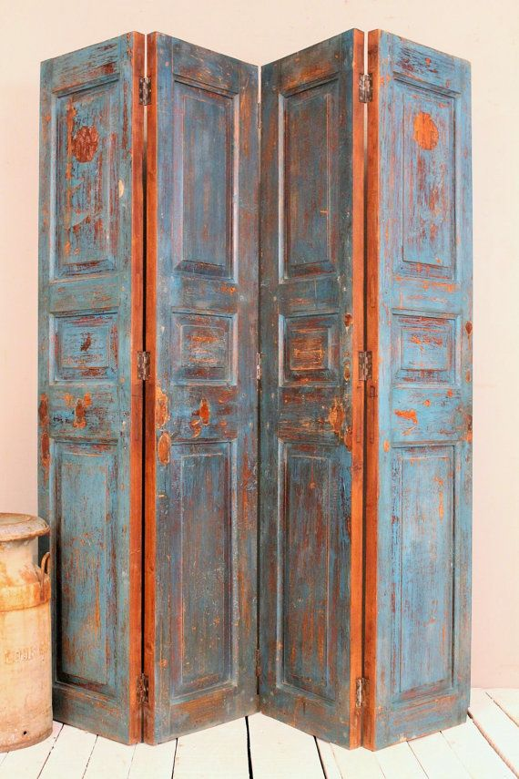 Vintage Panels Indian Screen Salvaged Doors Wood Room Divider Door Headboard Jodhpur Blue Warm Industrial Farm Chic