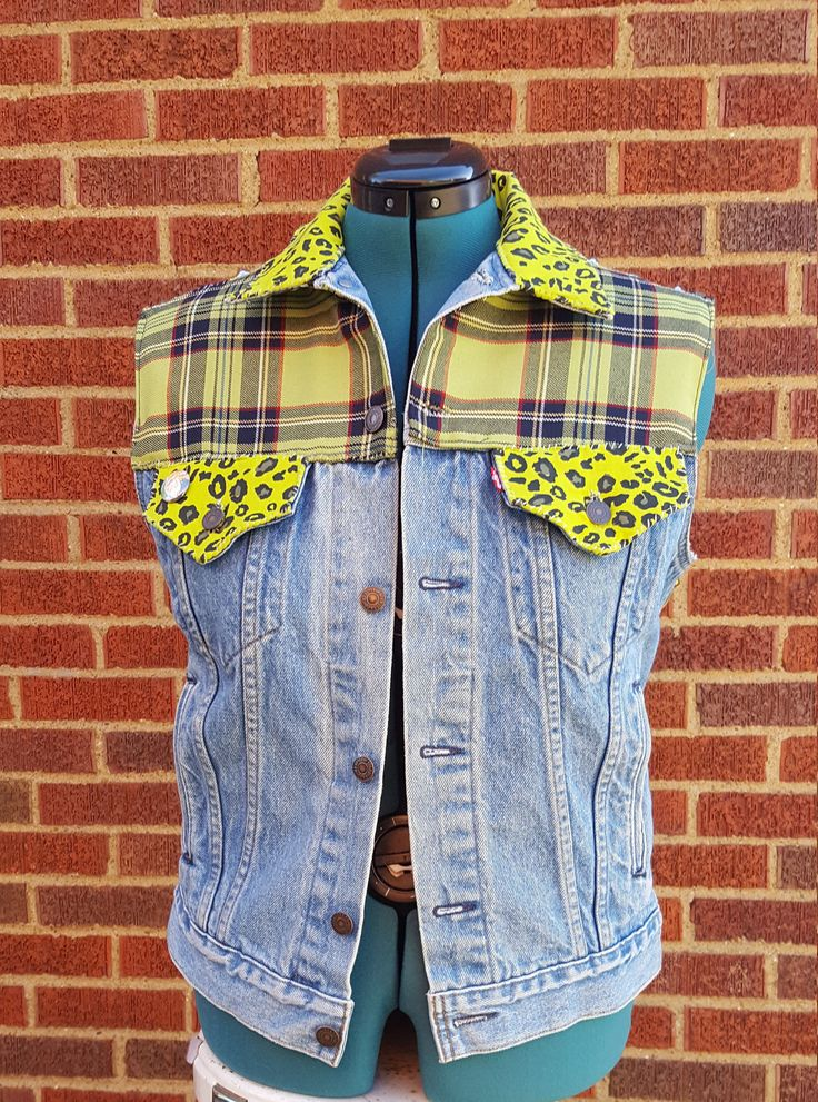 Green Plaid and Leopard Punk Vest DIY Unisex by TheDrunkenGnome on Etsy