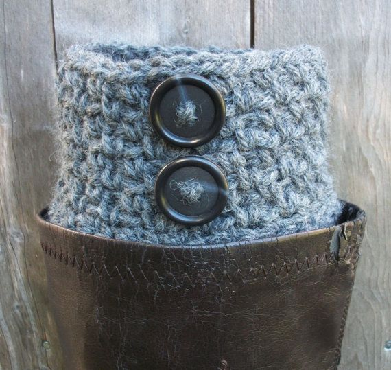 Boot Cuffs Grey Boot Socks Crocheted Gray by BlueBayCrochet, $17.50