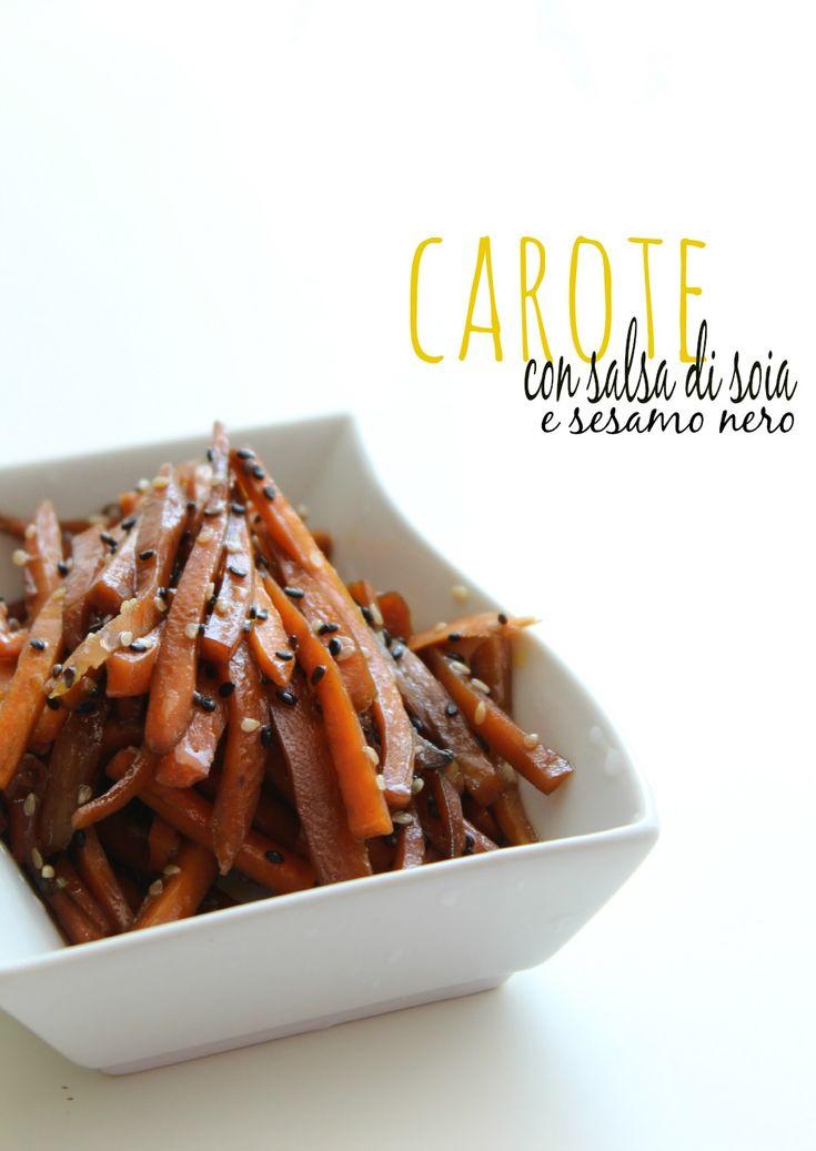 carote con salsa di soia e sesamo nero
