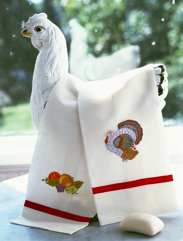 Turkey Time Guest Towels From Leron. Embroidered ...