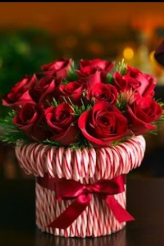 Centrotavola candy cane and roses