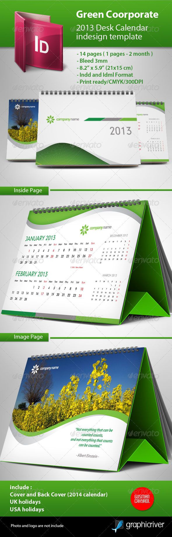 Calendar 2013 Green Template  #GraphicRiver         simple, clean and professional corporate calendar, easy to use, just put your logo and image and it's ready