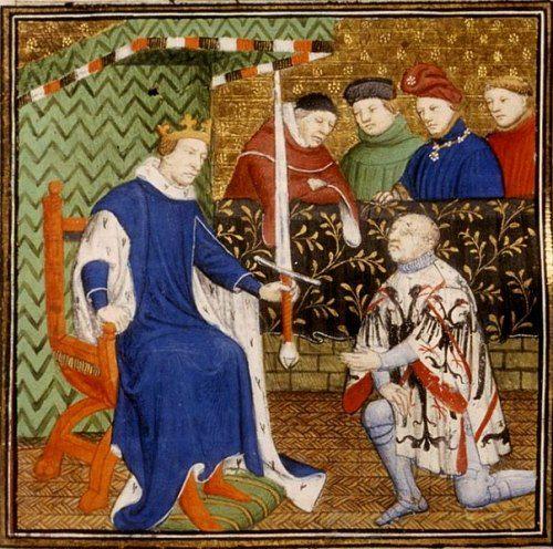 Charles V remet l'épée de connétable à Du Guesclin. Charles V remet à Du Guesclin l'épée de connétable. Histoire de France. Patrimoine. Magazine