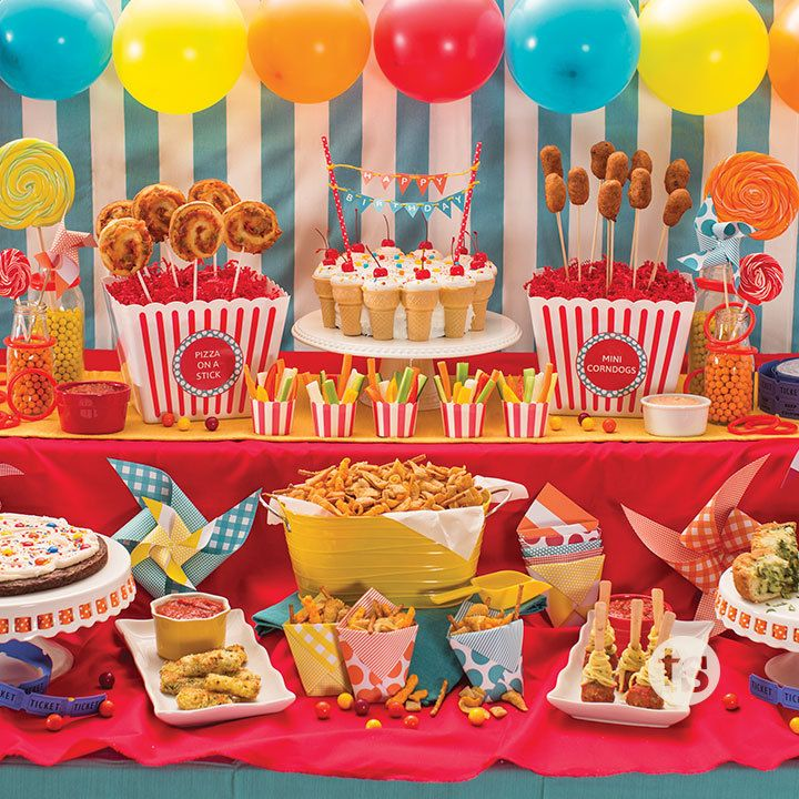 Fun Food on a Stick │A carnival-inspired birthday party menu perfect for kids of all ages.