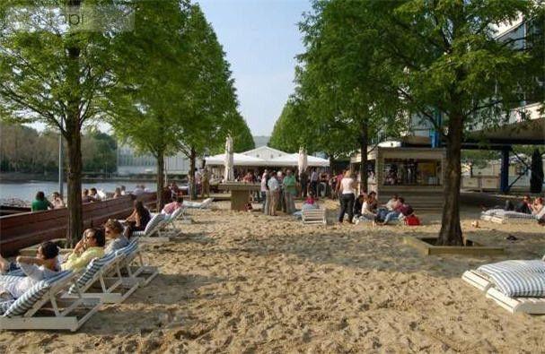 Strandzuid, a very trendy beach in Amsterdam. Swimming is not possible (europaplein 22) http://www.strand-zuid.nl/nl_NL/strandzuid/sz-welcome