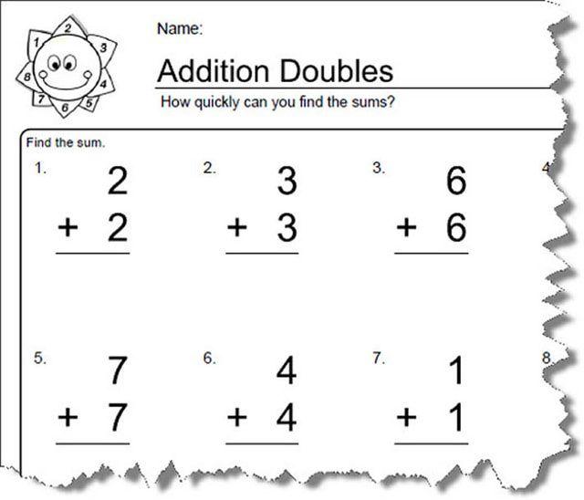 Addition Worksheets for Doubles: Worksheet 1 of 10