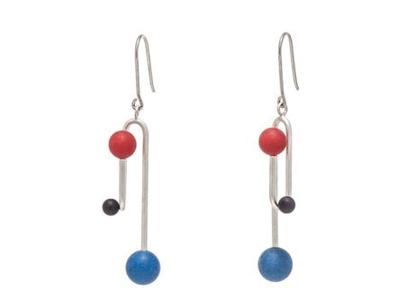 Clip earrings by Daehoon Kang  (Sterling silver, red, black and blue acetal)