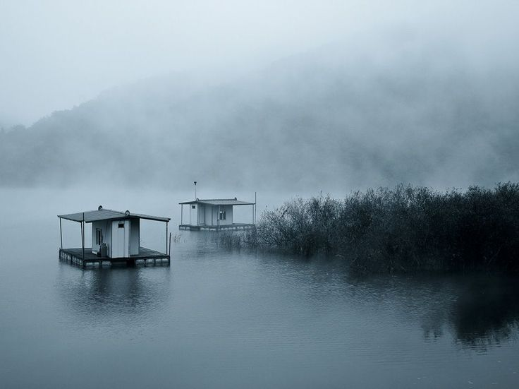 Calm and serene view of a misty fishing place around dawn, located at Hwacheon, Korea