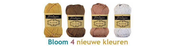 De nieuwe kleuren van #scheepjes Bloom.  Mooie rustige kleuren,  Bloom is een garen van 100% katoen, geschikt voor naalddikte 5 - 6 mm, niet zwaar door de holle draad.