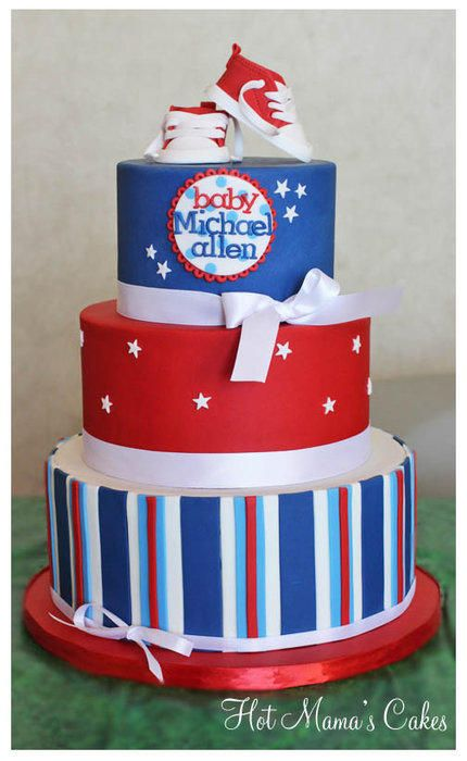 Red, White & Blue Stars and Stripes Baby Shower Cake with Converse Topper (Michael Allen)