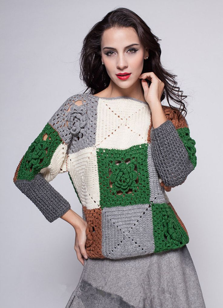 Granny Square Crochet Sweater by TinaCrochet2016 on Etsy