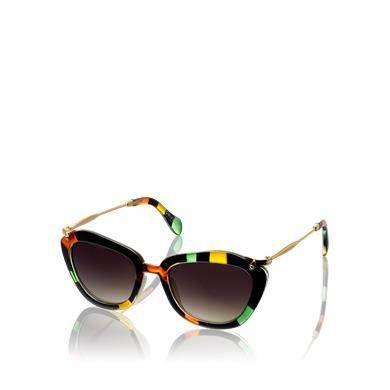 Slnečné okuliare moderného tvaru mačacích očí s korytnačinovým vzorom a hladkým bočným rámom v zlatom tóne. Čierny rám, zdobený oranžovými, zelenými a žltými škvrnami, spolu s jemnými líniami je zárukou neprehliadnuteľného vzhľadu. Dostanete ich zladenom puzdre s handričkou na čistenie.