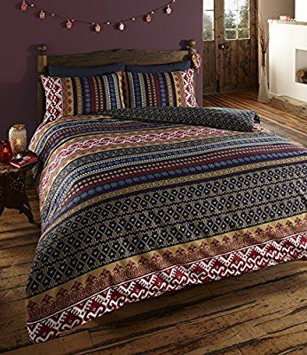 Vogueland Ethnic Indian Print Duvet Cover with Pillow Case, Double