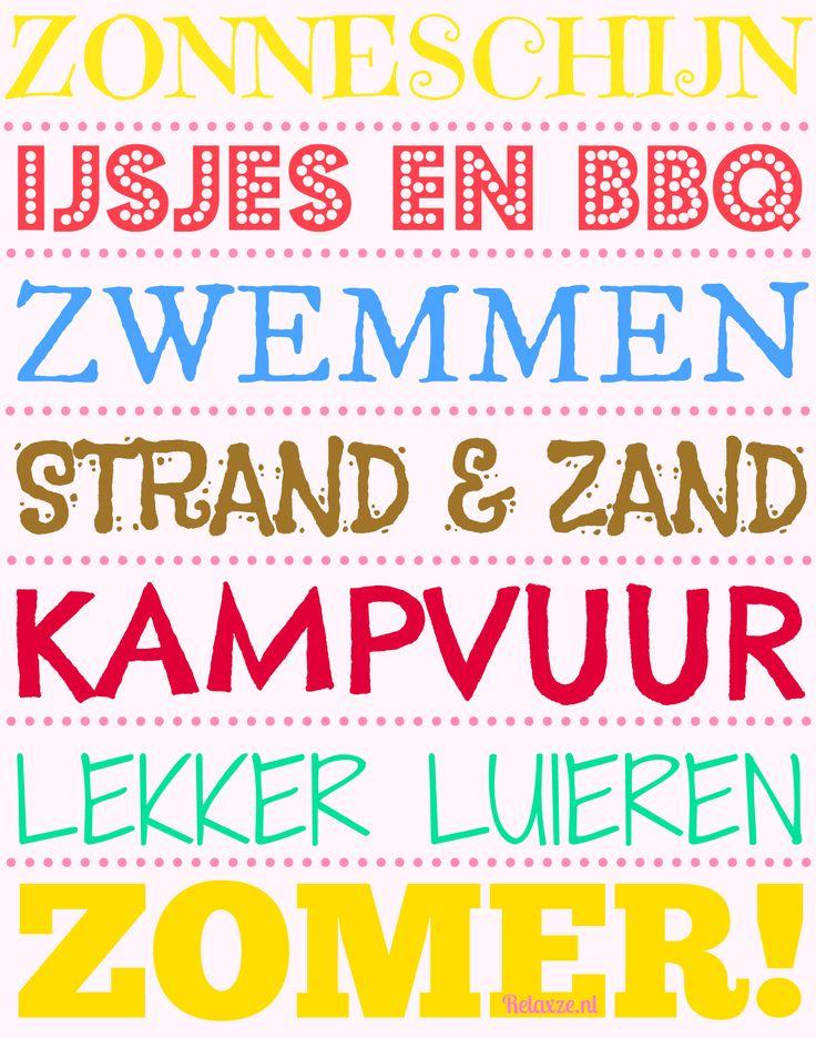 Zonneschijn, Ijsjes en BBQ, Zwemmen, Strand & Zand, Kampvuur, Lekker lezen, Zomer! relaxze.nl