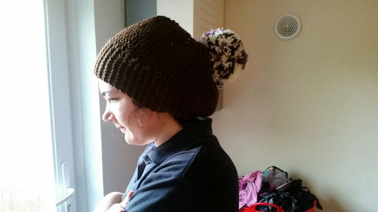 Finished Object - Knitted Brown bobble hat with Huge Pom-Pom