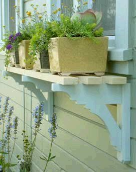 Window Box Twist ... <3 this idea - a simple shelf made from upcycled brackets & wooden slats. Adds charm and character to a plain window with practical gaps for planter drainage.   The Micro Gardener