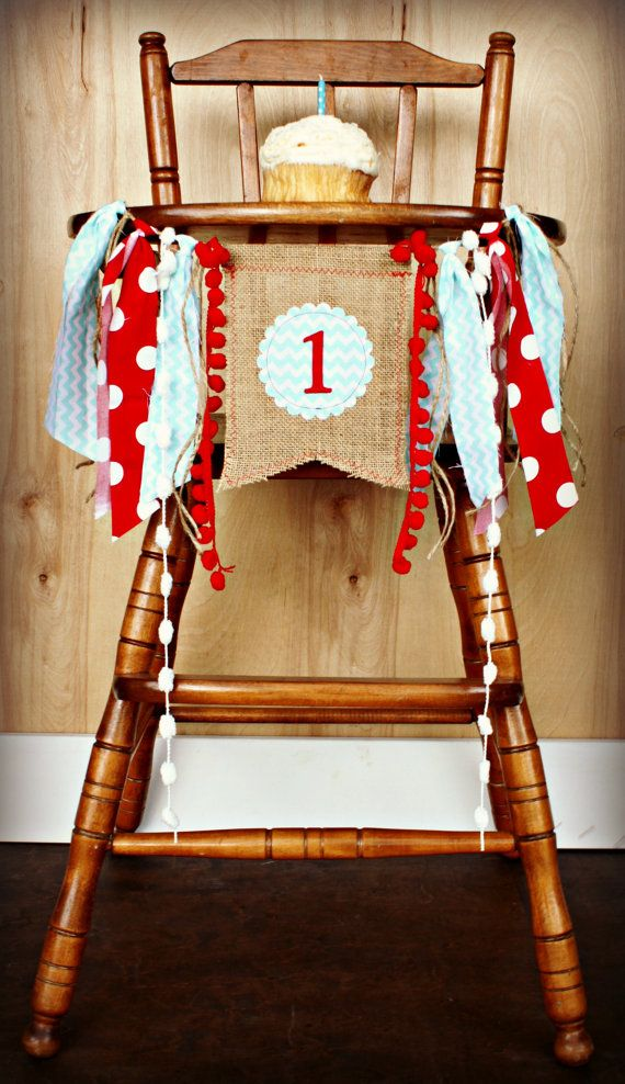 Birthday Age HIGH CHAIR highchair Birthday Banner /Party/ Photo Prop/Bunting/Backdrop/ Nursery Banner/Custom/Aqua and Red