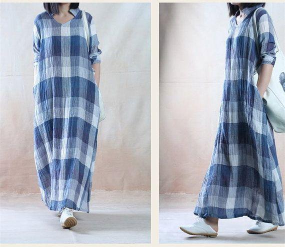Plus size linen dress oversized tunic dress long by JulyFlower