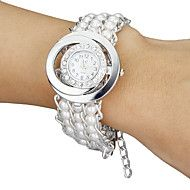 Vrouwen+Diamante+ronde+Dial+Pearl+band+kwarts+arm...+–+EUR+€+4.89