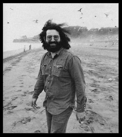 Jerry Garcia hanging on the beach.