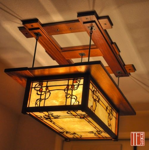 Custom leaded glass and mahogany dining room light by Theodore Ellison Designs
