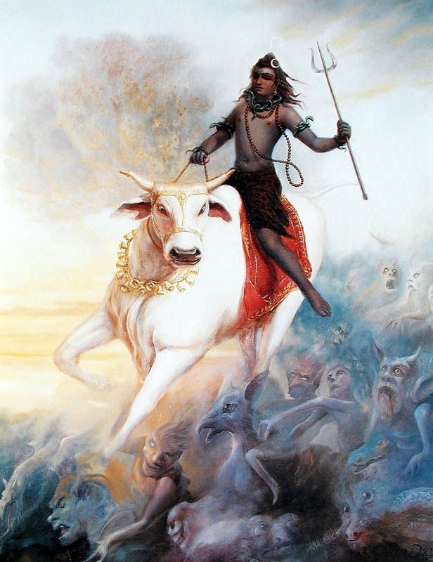 Lord shiva riding on his vehicle